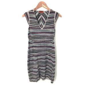 MISSONI striped dress cap sleeve wool Chevron